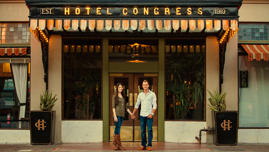 Krysta and Chad Engagement Photos at the Hotel Congress in Tucson, Arizona